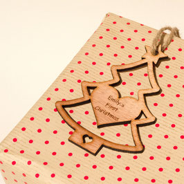 10cm Personalised Christmas Tree Gift Tag - Sapele