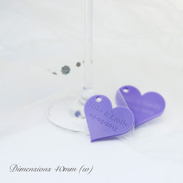 Personalised 40mm Lilac Acrylic Heart Decorations