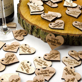 Personalised Wooden Hearts 4cm Drink Tokens.
