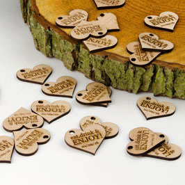 Personalised Wooden Hearts 3cm Drink Tokens.