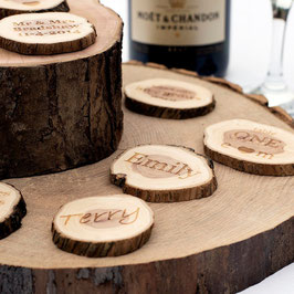 Small Personalised Log Slices, Engraved One Side
