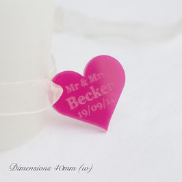 Personalised 40mm Cerise Acrylic Heart Decorations.
