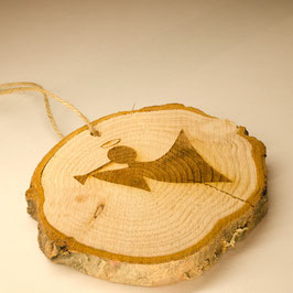 Log Slice Christmas Tree Decoration - Angel.
