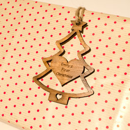 10cm Personalised Christmas Tree Gift Tag - Iroko