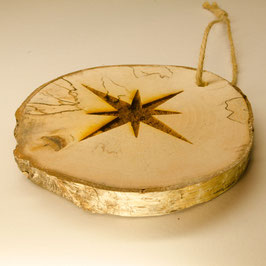 Log Slice Christmas Tree Decoration - Star.