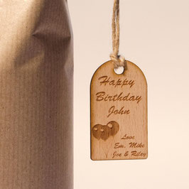 Rustic Wooden Happy Birthday Gift Tag.