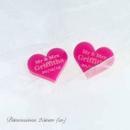 Personalised Cerise Acrylic Hearts 25mm Wide