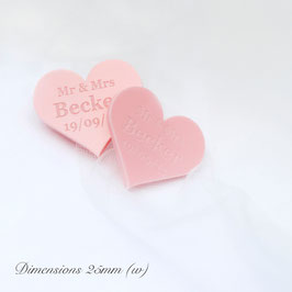 Personalised Pink Acrylic Hearts 25mm Wide