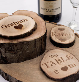 Personalised Log Slices. Engraved One Side