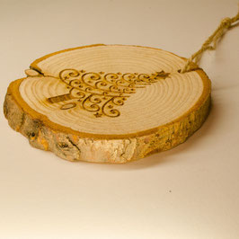 Log Slice Christmas Tree Decoration - Tree with Swirls.