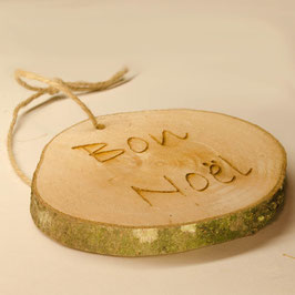 Log Slice Christmas Tree Decoration - Bon Noel.