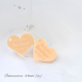 Personalised 40mm Peach Acrylic Heart Decorations