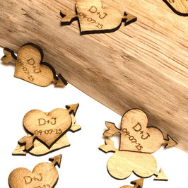 Personalised Wooden Heart & Arrow Decorations