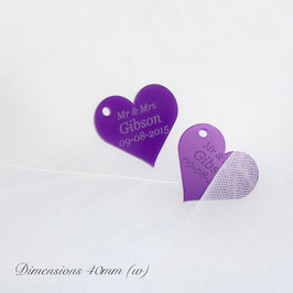 Personalised 4cm Purple Acrylic Heart Wedding Favours