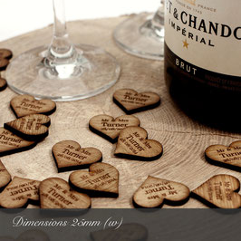 Personalised Wooden Hearts 25mm Wide