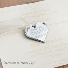 Personalised 40mm Mirror Acrylic Heart Decorations.