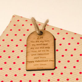 Rustic Personalised Valentine's Gift Tag