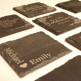 Personalised Square Slate Drinks Coasters