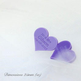 Personalised Lilac Acrylic Hearts 25mm Wide