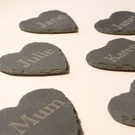 Personalised Heart Shaped Slate Coasters