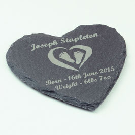 Christening Gift, Personalised Heart Shaped Slate Coaster