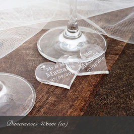 Personalised 40mm Clear Acrylic Heart Decorations