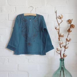 Chemise kurta bleue de Chine Bonjour diary
