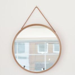 *VENDU* Miroir rond avec lanière en cuir