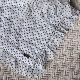 Edredon quilté à pois bleu à volants Bonjour Diary