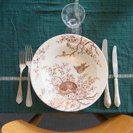*VENDU* Ensemble de 12 assiettes oiseaux bruns