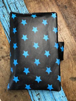 windeltasche  - schwarz mit blauen sternen und weissen polkadots - aussen pur - inkl. füllung
