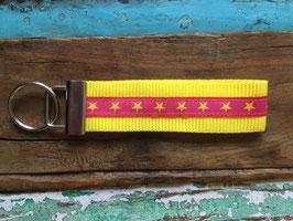schlüsselanhänger strahlende sterne, gelb - weicheres gurband