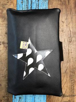 windeltasche deluxe - schwarzes kunstleder trifft auf wachstuch mit tropfen - sternapplikation aussen - inkl. füllung