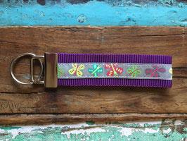 schlüsselanhänger neon schmetterlinge, lila - weichers gurtband