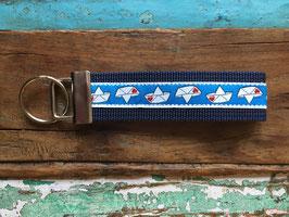 schlüsselanhänger papierschiffchen, dunkelblau