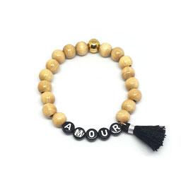 Bracelet WOOD POMPON NOIR - lettres blanches fond noir
