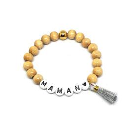 Bracelet WOOD POMPON ARGENTE - lettres noires fond blanc
