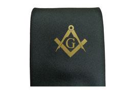 Cravate avec symbole maçonnique Equerre & Compas avec G