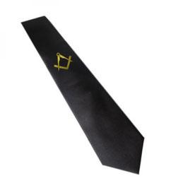 Cravate pour Franc-Maçon, noire avec Equerre & Compas