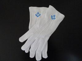 Gants maçonniques Equerre & Compas bleu