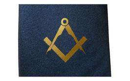 Cravate maçonnique bleue et or