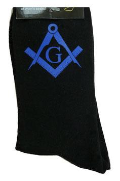 Chaussettes avec symbole maçonnique bleu