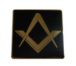Pin's Equerre & Compas carré Noir et Or