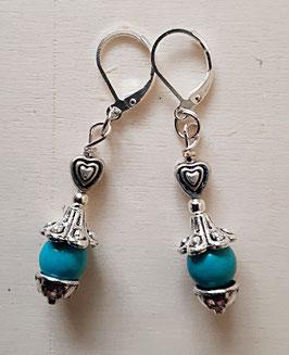 Edelstein Ohrringe mit Türkis und Herz 1
