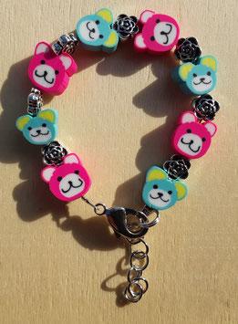 Armband Teddy pink und blau