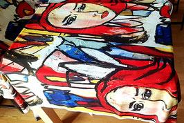 Stoff mit Design Frau rot (Loopback Sweater Jersey)