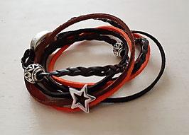 Kunstwildleder Armband orange mit Sternen und schönem Magnetverschluss