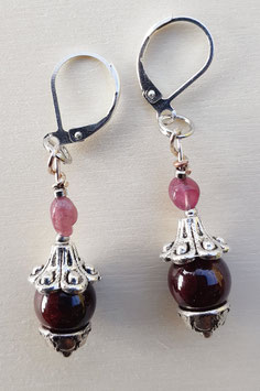 Edelstein Ohrringe mit Granat und Turmalin