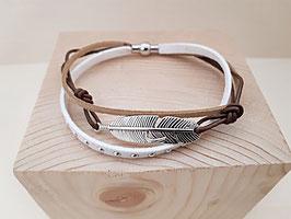 """Kunstwildleder Armband """"weiss"""" mit Feder (ohne Perlen) 3"""