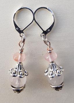 Edelstein Ohrringe mit Rosenquarz und Kirsche Quarz Glasperlen